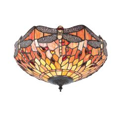 Interiors 1900 T077SH40-FL1 Tiffany Dragonfly Flame Medium 2Lt Flush Light