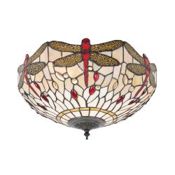 Interiors 1900 T056SH40-FL1 Tiffany Dragonfly Beige Medium 2Lt Flush Light