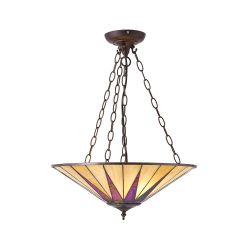 Interiors 1900 TG08SH-SU3C/ADJ Tiffany Dark Star Large Inverted 3Lt Pendant