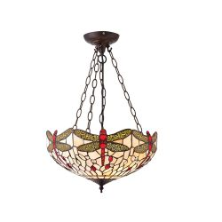 Interiors 1900 T056SH40-SU3C/ADJ Tiffany Dragonfly Beige Medium Inverted 3Lt Pendant