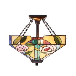 Interiors 1900 TG106SHM-SFSQ Tiffany Willow Medium 2Lt Semi Flush Light