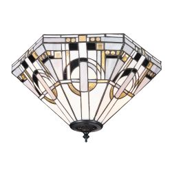 Interiors 1900 TM25M-FL1 Tiffany Metropolitan Medium 2Lt Flush Light