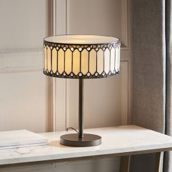 Interiors 1900 Fargo Tiffany 30cm Drum Table Lamp