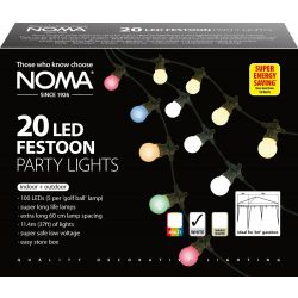 Noma 12m 20 Static Festoon LED White Party Lights