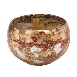 Flambeau FB/VERMILIONBOWL Vemilion Bowl Vermilion Decorative Bowl Red / Gold And Silver Leaf