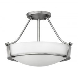 Hinkley HK/HATHAWAY/SFSN Hathaway Antique Nickel 3 Light Small Semi-flush Light
