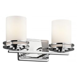 Kichler KL/HENDRIK2 BATH Hendrik Polished Chrome 2 Light Bathroom Wall Light