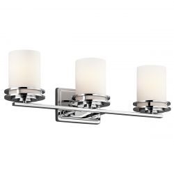 Kichler KL/HENDRIK3 BATH Hendrik Polished Chrome 3 Light Bathroom Wall Light