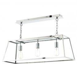 Dar Lighting ACA0344 Academy 3 Light Pendant Stainless Steel