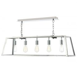 Dar Lighting ACA0544 Academy 5 Light Pendant Stainless Steel