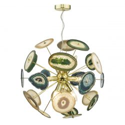 Dar Lighting ACH1355 Achates 9 Light Pendant Gold/Agate