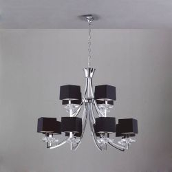 Mantra M0792 Akira Pendant 2 Tier 12 Light E14, Polished Chrome With Black Shades