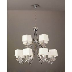 Mantra M0792/CS Akira Pendant 2 Tier 12 Light E14, Polished Chrome With Cream Shades