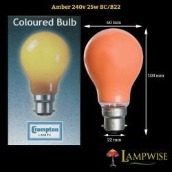 Crompton 25W 240V BC B22 Amber Coloured GLS Outdoor Light Bulb