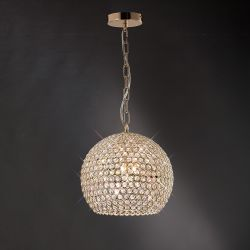 Diyas IL30752 Ava French Gold/Crystal 5 Light Pendant Light