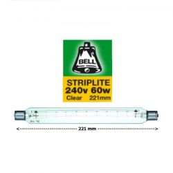BELL 02090 - 221mm 60W S15 Double Ended Clear Striplite Tube