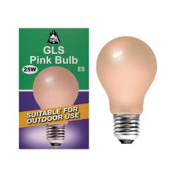 BELL 01529 - 25W 240V ES E27 GLS Pink Coloured Outdoor Light Bulb