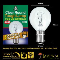 BELL 01731 - 40W 240V SBCB15 Tough Lamp 3000 Hour Clear 45mm Round Bulb