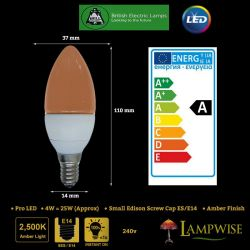 Bell 4w Pro Led Small Edison Screw ES/E14 Amber Candle Bulb 4w = 25w