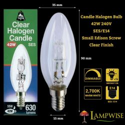 BELL 05206 - 42W 240V SES E14 Energy Saver Halogen Candle, Warm White