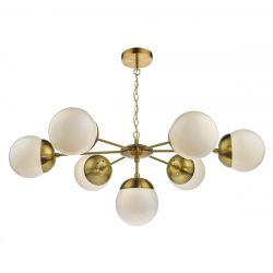 Dar Lighting BOM3435 Bombazine 7 Light Pendant Natural Brass complete with Glass Shds