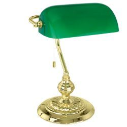 EGLO 90967 Banker Table lamp with Polished Brass Base and Green Shade
