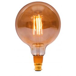 BELL 01471 4W BC/B22 LED Vintage 125mm Globe Dimmable Lamp - Amber, 2000K - Warm White