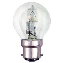 BELL 05216 18W Halogen Energy Saver Round Golf Ball - BC B22,  Clear, Warm White, Dimmable