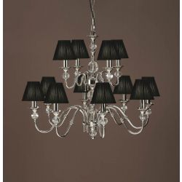 Interiors 1900 CA1BSHN-LX124P12N New Classics Polina Nickel 12Lt Pendant & Black Shades