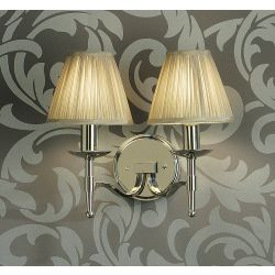 Interiors 1900 CA1SHN-CA1W2N New Classics Stanford Nickel Twin Wall Light & Beige Shades
