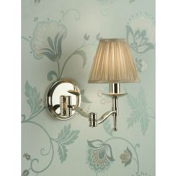 Interiors 1900 CA1SHN-CA1WSAN New Classics Stanford Nickel Swing Arm Wall Light & Beige Shade