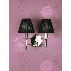 Interiors 1900 CA1BSHN-CA1W2N New Classics Stanford Nickel Twin Wall Light & Black Shades