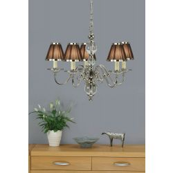 Interiors 1900 UL1PNSHC-CA20P5N New Classics Tilburg Nickel 5Lt Pendant & Chocolate Shades
