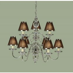 Interiors 1900 UL1PNSHC-CA20P9N New Classics Tilburg Nickel 9Lt Pendant & Chocolate Shades