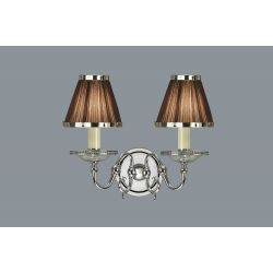 Interiors 1900 UL1PNSHC-CA20W2N New Classics Tilburg Nickel Twin Wall Light & Chocolate Shades