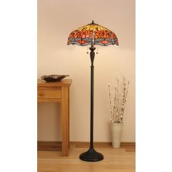 Interiors 1900 T077SH50-DK1F Tiffany Dragonfly Flame Floor Lamp