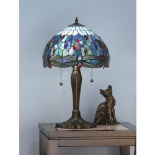 Interiors 1900 T009SH40-DB6 Tiffany Dragonfly Blue Medium Table Lamp