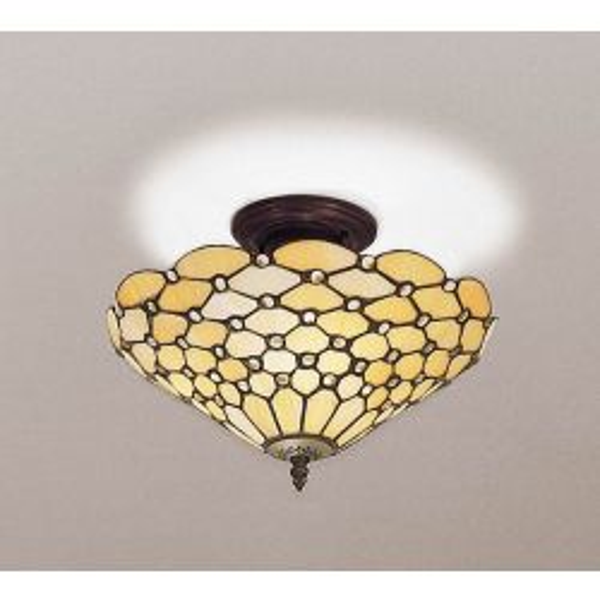 Interiors 1900 TO6/M-SF01 Tiffany Pearl Medium 3Lt Semi Flush Light
