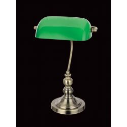Impex Lighting TB305101/GRN/AB Bankers Lamp 1 Light Antique Brass Green Shade Table Lamp
