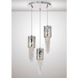 Diyas IL31624 Camden Polished Chrome/Mosaic Glass/Crystal 3 Light G9 Round Pendant Light