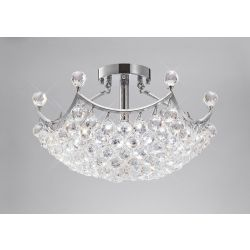 Diyas IL30033 Cesto Polished Chrome/Crystal 6 Light Semi Flush Ceiling Light