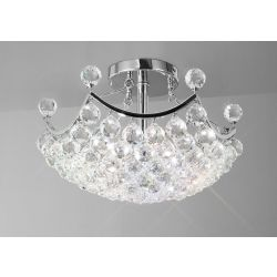 Diyas IL30035 Cesto Polished Chrome/Crystal 4 Light Semi Flush Ceiling Light