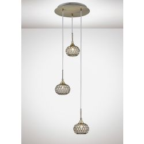 Diyas IL31515 Chelsie Antique Brass/Clear Glass 3 Light Round Pendant Light
