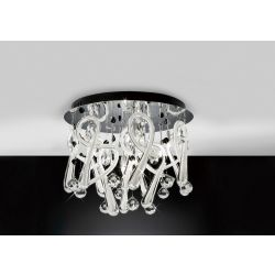 Diyas IL50382 Class Polished Chrome/White Glass/Crystal 10 Light Round Ceiling Light