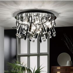 Diyas IL50385 Class Polished Chrome/Black Glass/Crystal 20 Light Round Ceiling Light