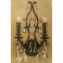 Crimway 'Nice' Antique Crystal 2 Light Sconce Wall Lamp * ONE ONLY *