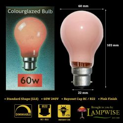 Crompton 60W 240V BC B22d Pink Coloured GLS Light Bulb