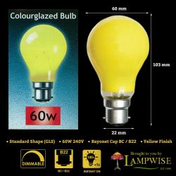 Crompton 60W 240V BC B22 Yellow Coloured GLS Light Bulb