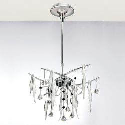 Diyas IL50411 Cygnet Polished Chrome/White Glass/Crystal 10 Light Ceiling Light