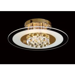 Diyas IL32021 Delmar French Gold/Glass/Crystal 4 Light Round Flush Light